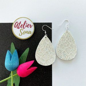 Lacy Tear Drop Earrings - White